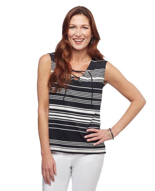 Women's black sleeveless blouse with grommet detailing