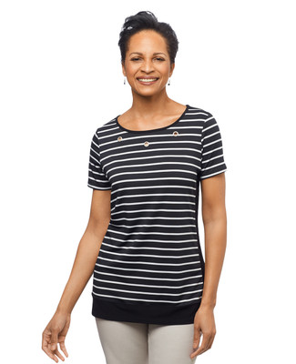 Women's black stripe short sleeve blouse
