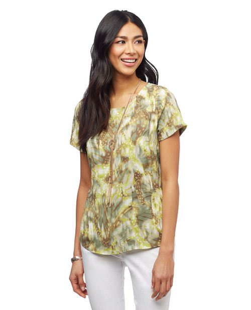 Women's sage short sleeve shirt with high-low cut
