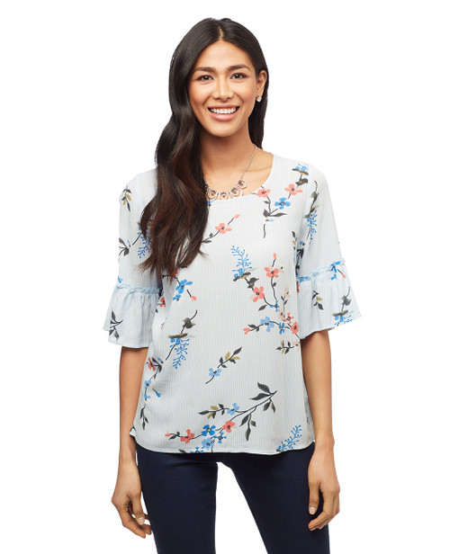 Women's petite blue long sleeve top with ruffled sleeves