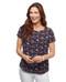 Women's floral black short sleeve shirt