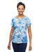 Women's blue short sleeve shirt with back pleat