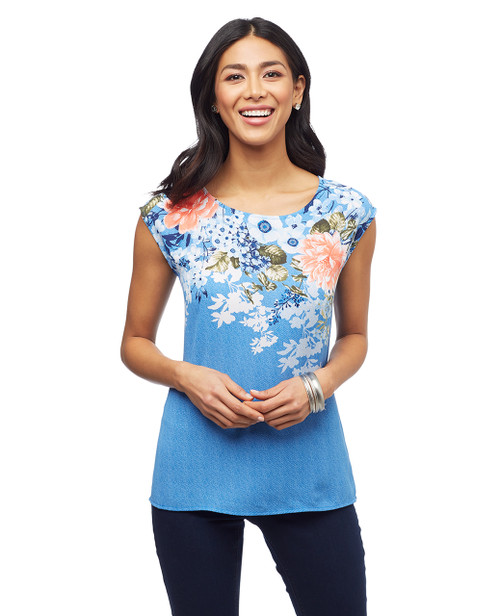 Women's sleeveless blue floral blouse