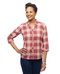 Women's petite coral plaid three quarter sleeve button up blouse