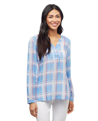Women's three quarter sleeve blue plaid lace up top