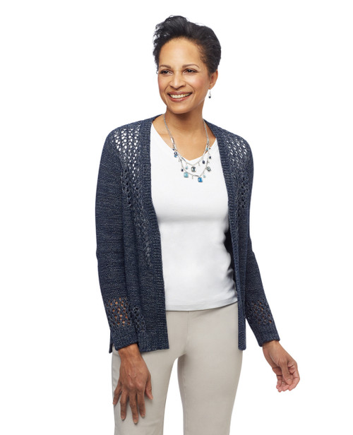 Women's grommet lace up cardi