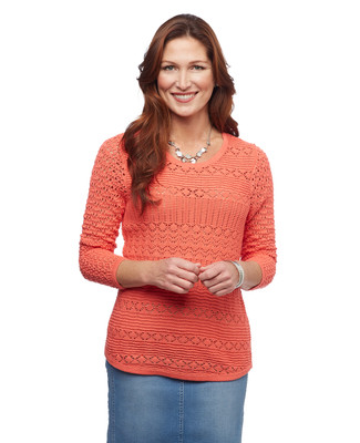 Women's pointelle pullover sweater
