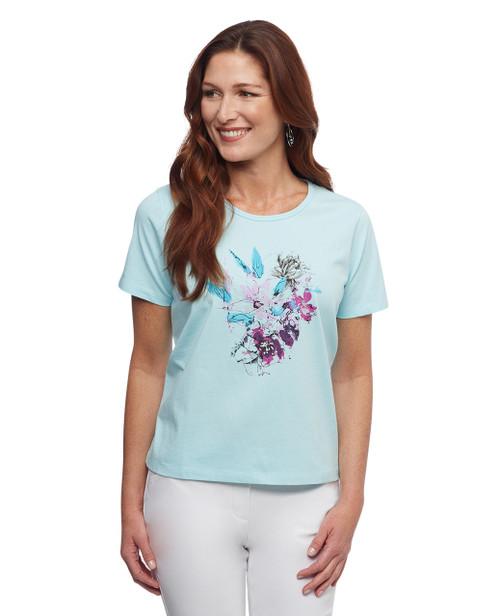 Women's blue blooming florals crew neck graphic tee