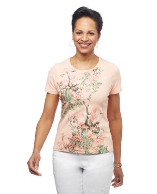 Women's peach petite floral graphic crew neck cotton tee