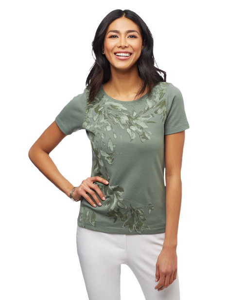 Women's moss green into the tropics floral graphic tee