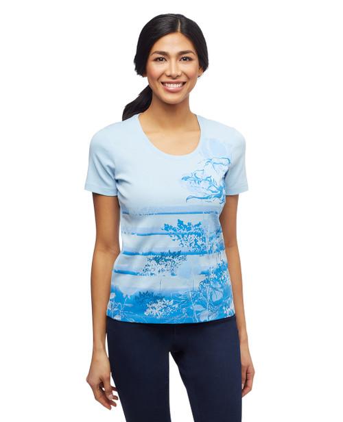 Women's crystal blue petite island blues graphic scoop neck tee