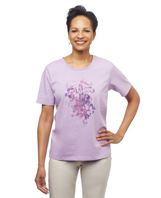 Women's lilac art leaf graphic crew neck tee