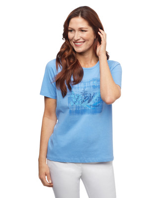 Women's blue windy leaves graphic crew neck tee