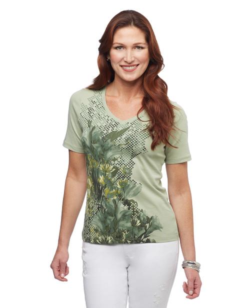 Women's sage floral graphic v neck cotton tee