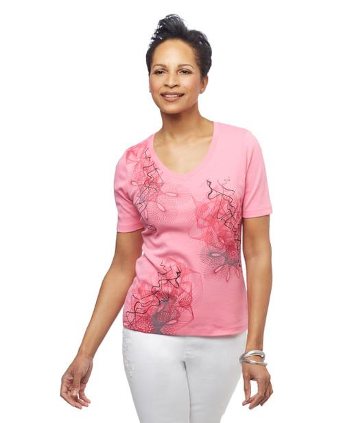 Women's Watermeleon pink spirograph movement graphic tee