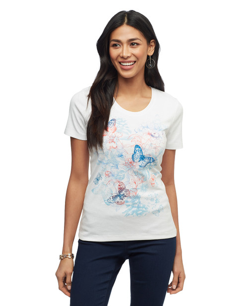 Women's white butterfly graphic scoop neck cotton tee