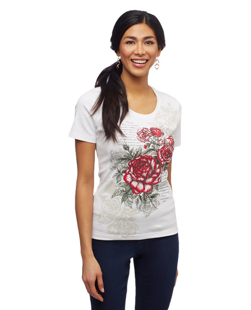 Women's white Canada rose graphicscoop neck tee
