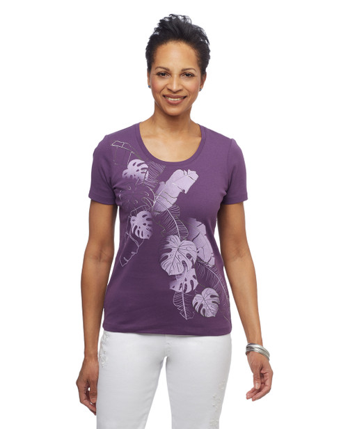 Women's purple lotus leaf graphic scoop neck cotton tee