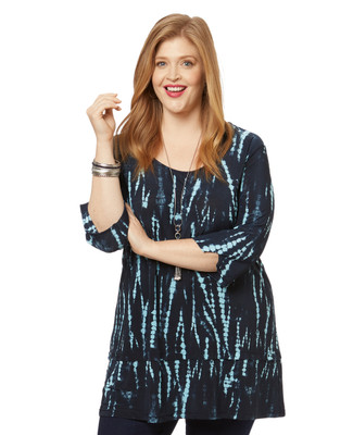 Women's PLUS navy tie dye tunic top with three quarter sleeves