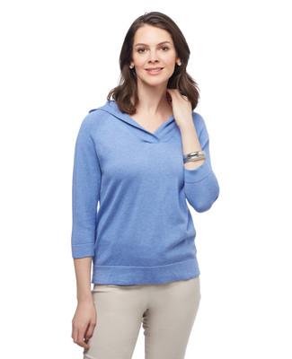 Women's nile blue V neck shawl pullover hooded sweater.