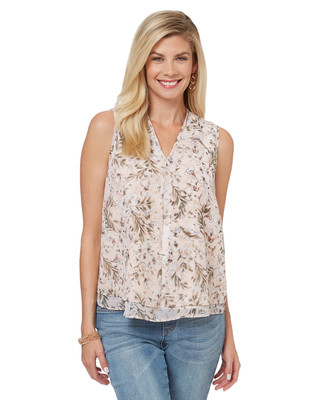 Women's peach floral printed sleeveless blouse with front flyaway pleat