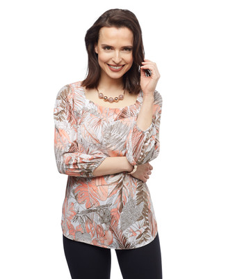 Women's coral lily palm leaf printed bell sleeves top