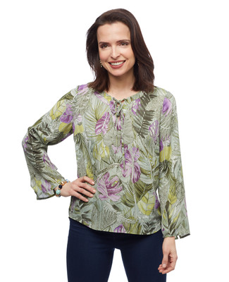 Women's sage green petite palm leaf printed bell sleeves spring top