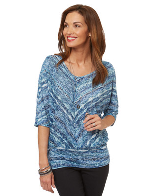 Women's blue burn out three quarter length top with banded hem