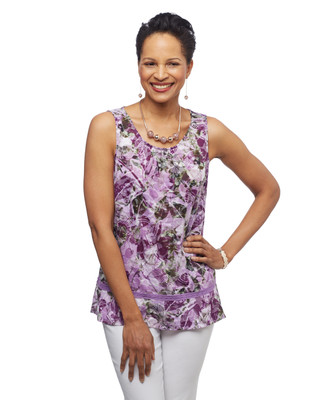 Women's grape purple floral sleeveless burn out peplum top with lace detailing.