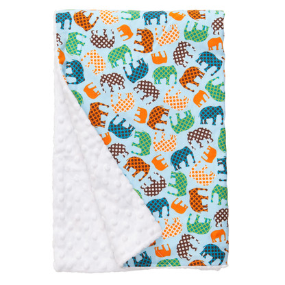 "Blue Elephant XL Baby Blanket (42"" x 32"")"