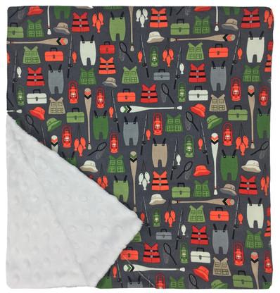 "Here Fishy Fishy Large Blanket (27"" x 29"")"