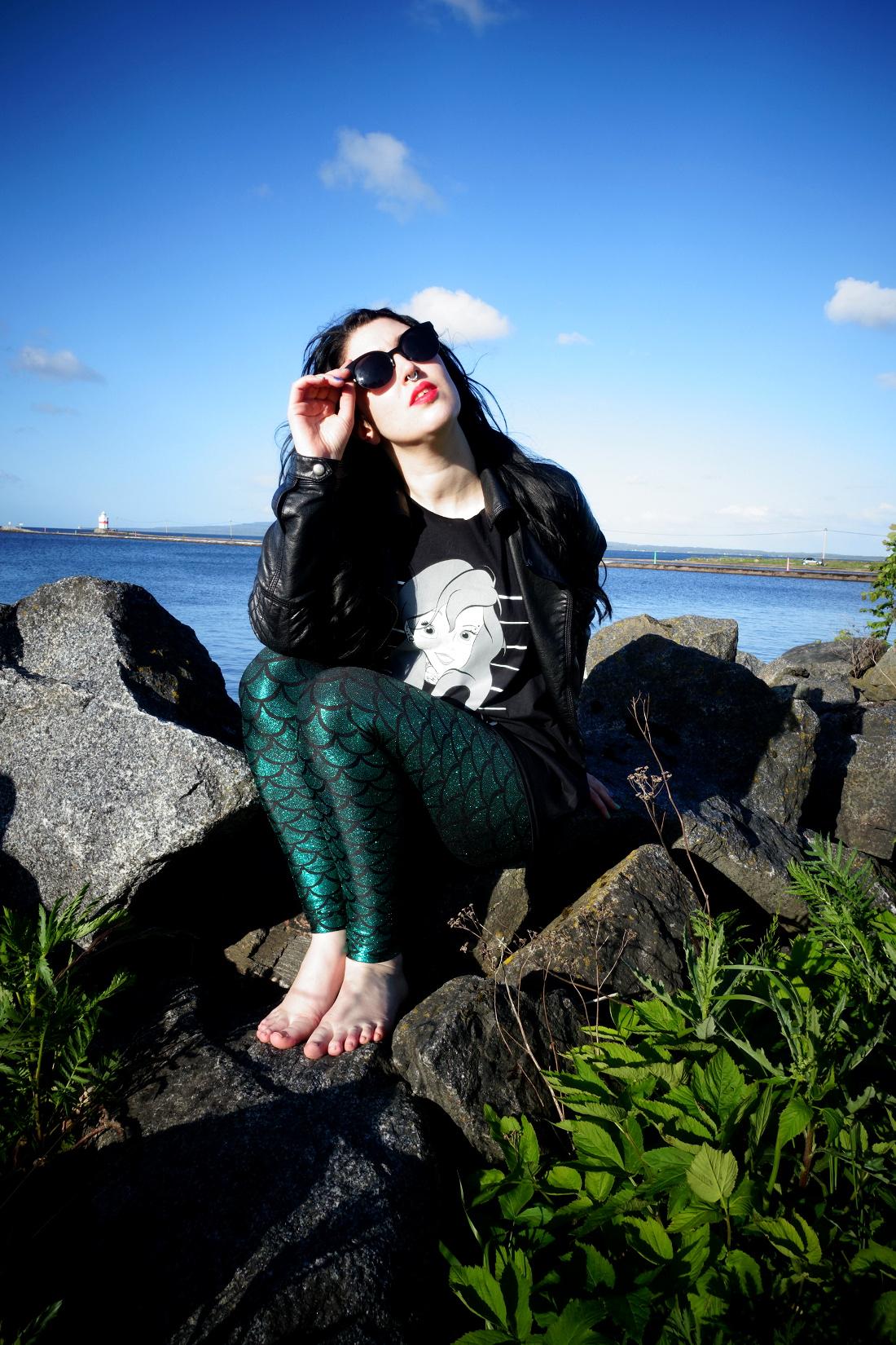 twisted apparel ariel mugshot mermaid t shirt, green mermaid leggings