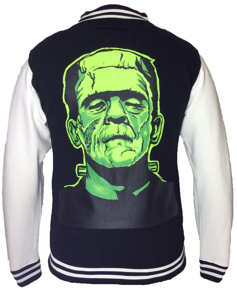 Twisted Black Frankenstein Varsity Jacket