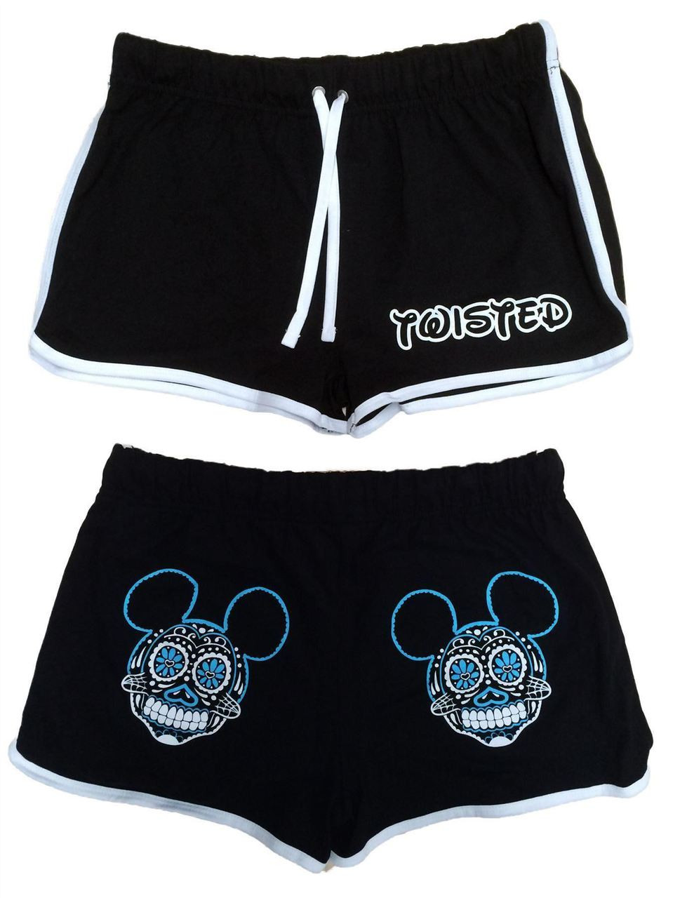 Twisted Micky Sugar Skull High Waisted Retro Shorts