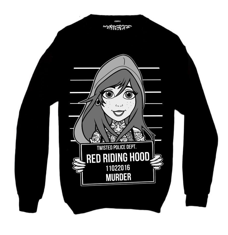 Red Riding Hood Tattoo Mugshot Sweatshirt