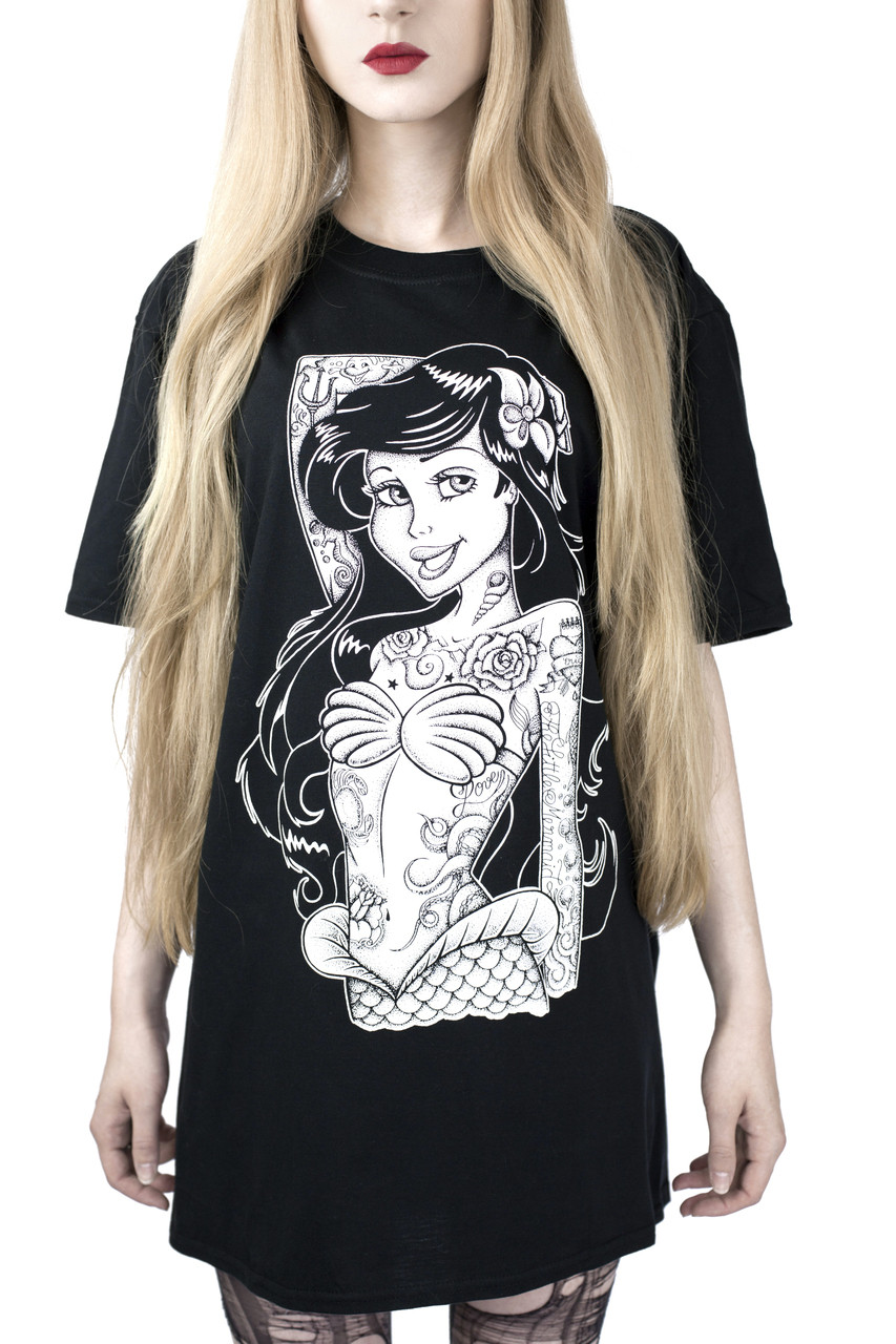 Gothic Mermaid Pinup Ariel Tattoo T Shirt