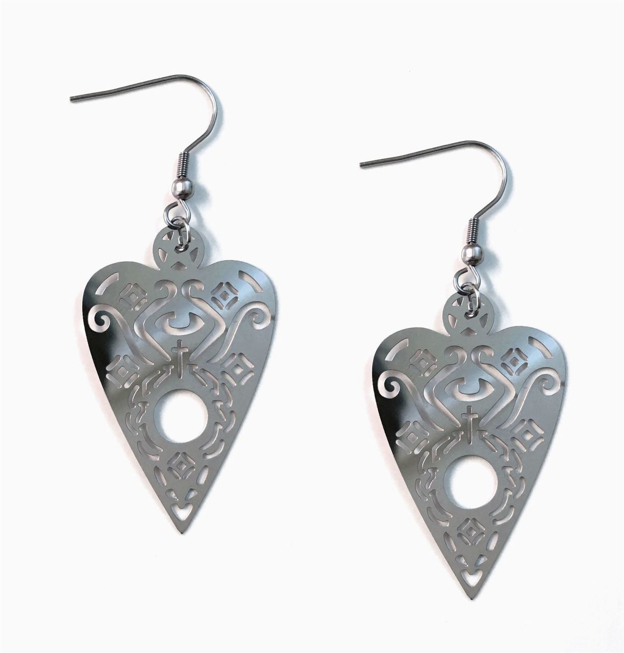 Over sized Stainless Steel OUIJA PLANCHETTE earrings