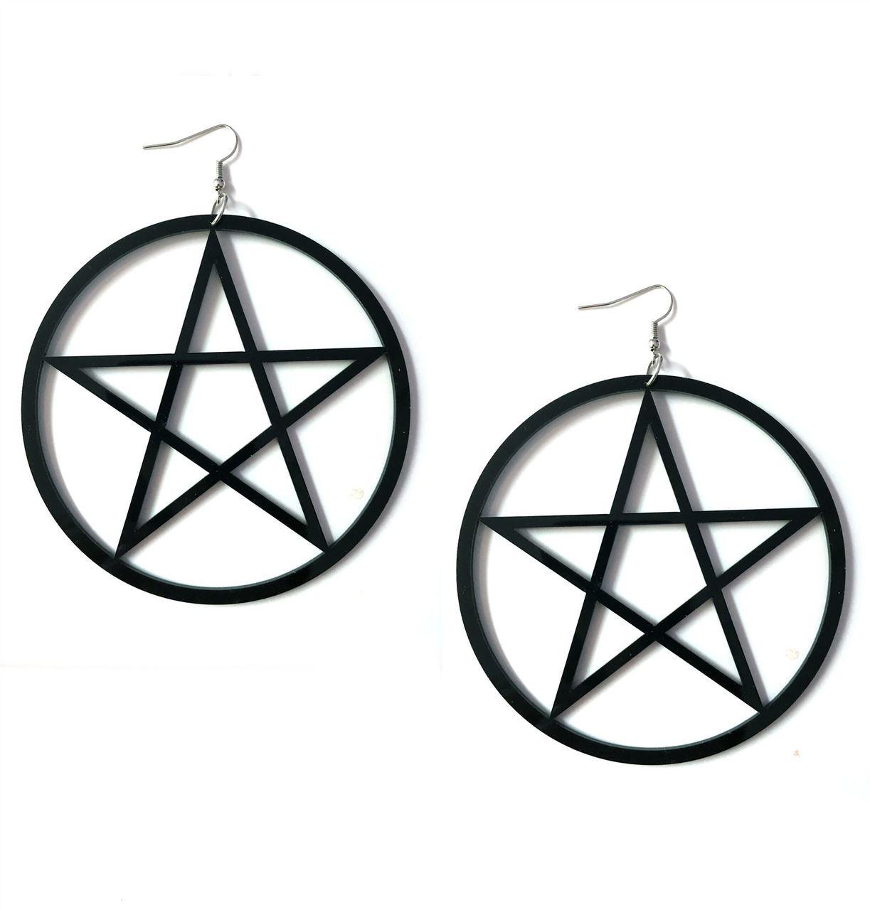 Large Occult Pentagram Earrings Over Sized Gothic BLACK