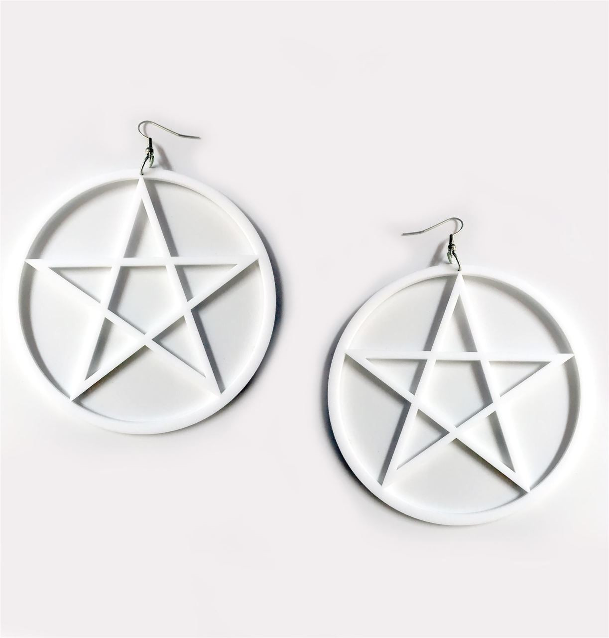 Large Occult Pentagram Earrings Gothic Over Sized White