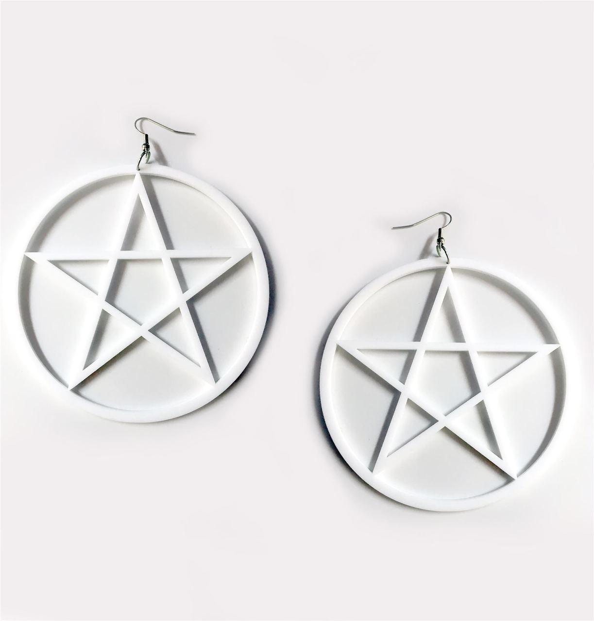 Large Occult Pentagram Earrings Gothic Over Sized White