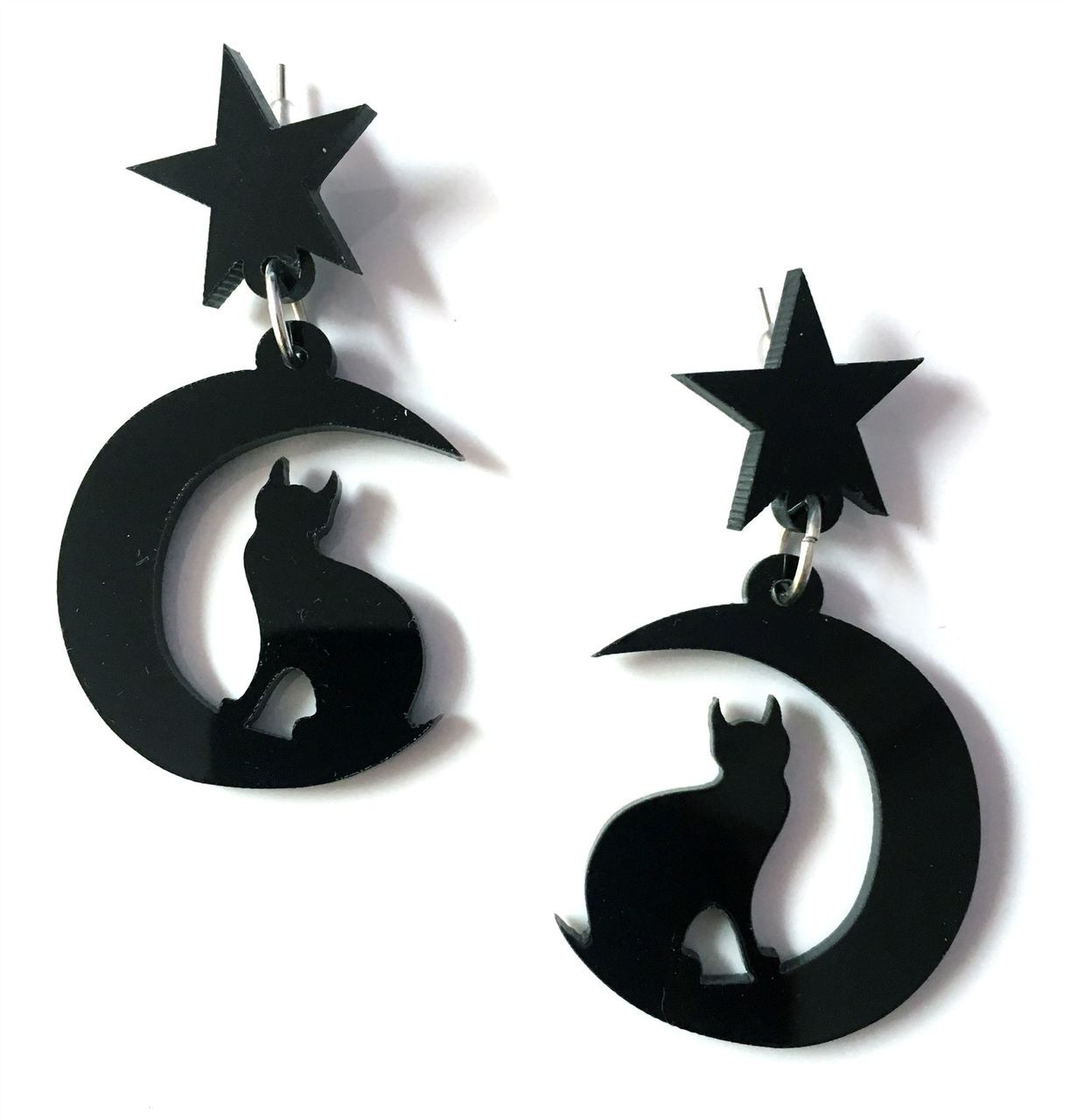 Moon Cats Gothic Pendant Earrings