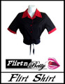 Tie-Up Flirt Shirt Black with Red Trims