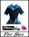 Flirt Shirt Tie-Up Black with Turquoise Trims