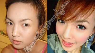 Before and after Geo Angel Green circle lenses