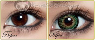 Before and after. Size and color comparison with Geo Princess Mimi Green circle lenses