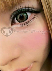 Princess Mimi Green (AngelColor Bambi) circle lenses on brown eyes