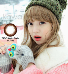 Model photo, BC102 dark brown circle lenses by Geo. Fast shipping from the USA!