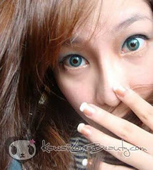 Make your eyes really pop with Twins (Cherry Holic) Aqua Blue YH-302 colored contacts by GEO.