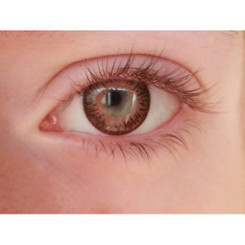 Closeup of Geo Twins Brown YH306 opaque soft colored contact lenses.
