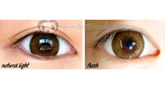 HC-104 Honey Brown colored contact lenses in natural light and flash photo.